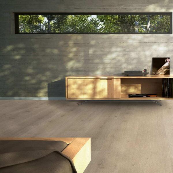 Roble Urban Claro Calizo XXL - Vinílico Parador Modular ONE ambiente dormitorio