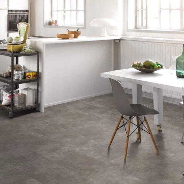 Cemento Gris Oscuro - Vinílico SPC Parador Modular ONE Hydron Baldosa ambiente cocina
