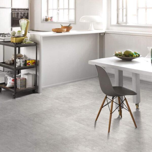Industrial Canvas White - Vinílico SPC Parador Trendtime 5 Baldosa Grande ambiente cocina