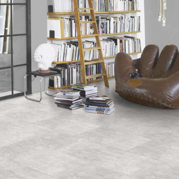 Industrial Canvas White - Vinílico SPC Parador Trendtime 5 Baldosa Grande ambiente estudio