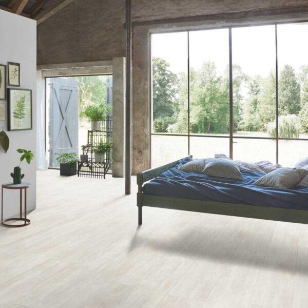 Roble Nordic Blanco XXL - Vinílico Parador Modular ONE ambiente dormitorio