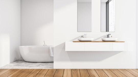 Tarimas resistentes al agua, suelos laminados para baños